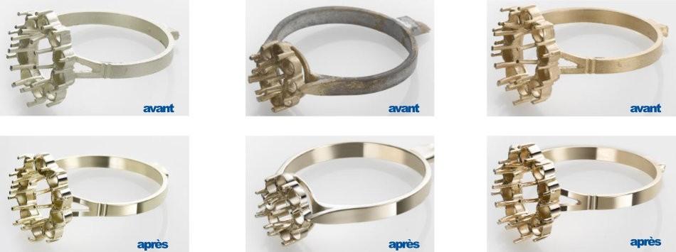 Résultat d'un polissage de bijoux avec l'EPAG-Smart d'OTEC